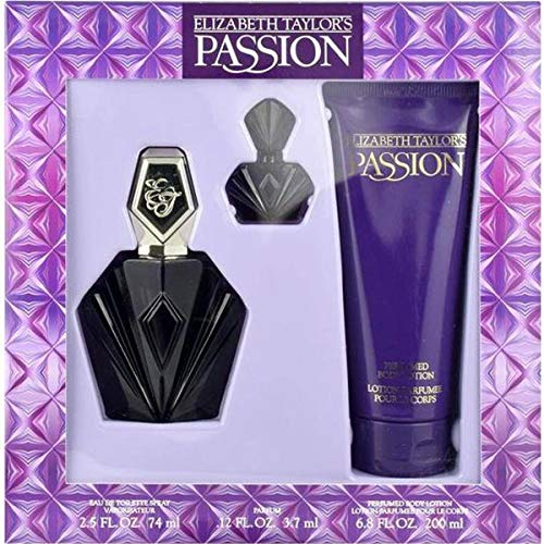- Passion By Elizabeth Taylor For Women, Set-edt Spray, 2.5-Ounce Bottle & Body Lotion 6.8-Ounce Bottle & Parfum .12-Ounce Bottle Mini