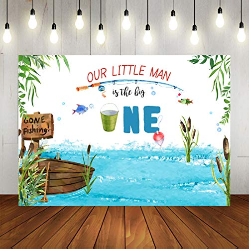 Gone Fishing Backdrop Our Little Man First Birthday Party Photography Background Watercolor Gone Fishing Decorations for Boy Birthday Party Banner Photo Props 7x5ft