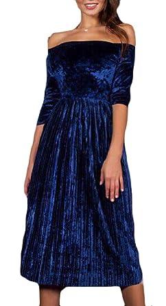 12bd05b0fcde Smeiling Women s Off Shoulder 3 4 Sleeve Empire Pleated Velvet Swing Midi  Dress ...