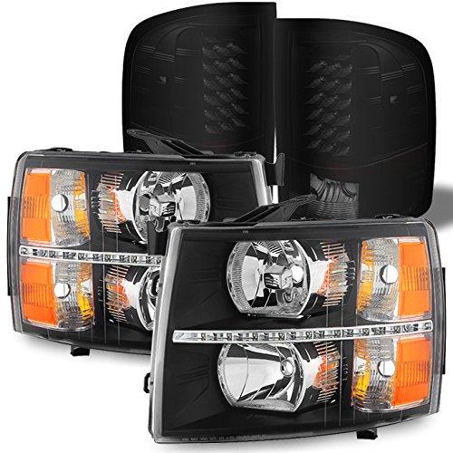 For Chevy Silverado 1500 2500HD 3500HD Black Bezel LED DRL Headlights + LED Tail light Set L+R