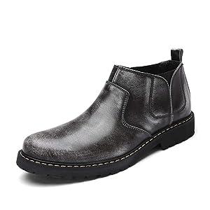 紳士靴 ビジネスシューズ メンズ サイドゴア ショートブーツ イングランド風 革靴 灰色 防滑 通勤 普段用 秋冬用 ミリタリー用 エンジニアブーツ 大きいサイズ 軽量 通気 かっこいい おしゃれ 大きいサイズ 24.0cm
