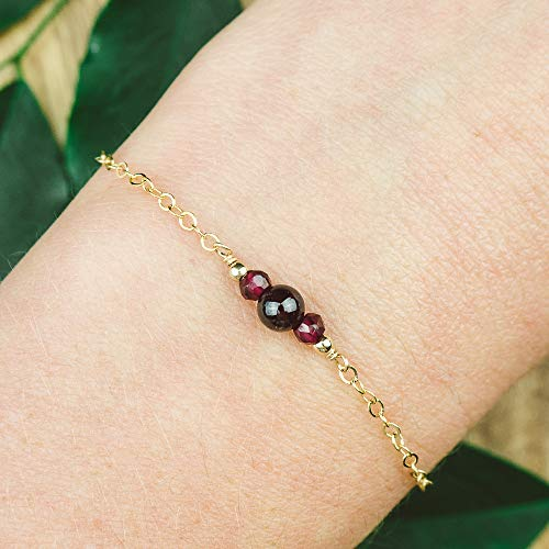 Dainty crystal garnet bracelet in 14k gold fill - 6