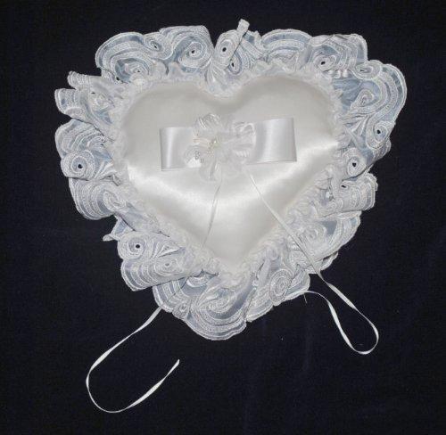 - Organza Flower Heart Shaped Ring Bearer Wedding Pillow