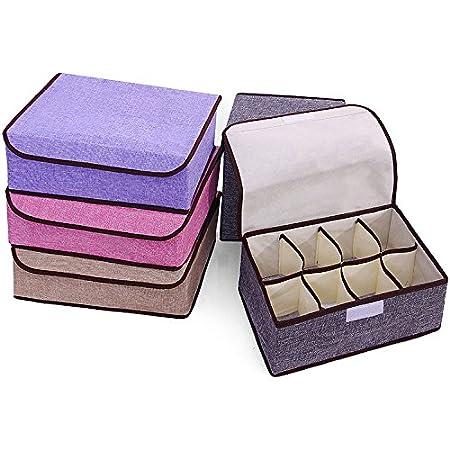 Homespace 8-Grid Non-Woven Fabric Storage Box Folding Storage Case for Bra Socks Underwear Ties (8-Grid, Gray)