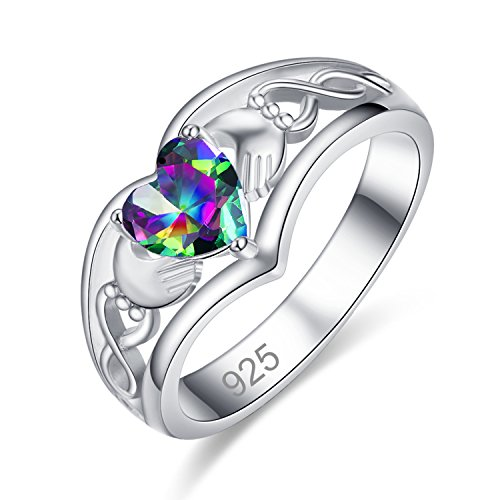 Silver 6x6mm Heart Rainbow Topaz Filled Claddagh Ring for Women ()