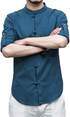 Camisa Stand Cuello Hombre Moda Estilo Chino Camisas De Hombre Camisas Tunicas Manga Larga Botonadura Irregular Rajas Laterales Casual Blusas Superiores Etnica Aireado Cómodo: Amazon.es: Ropa y accesorios