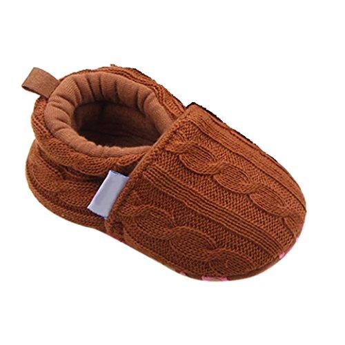 Babyschuhe Longra Mode Baby Halbschuhe Sneaker rutschfest weiche Sohle Schuhe Stricken Lauflernschuhe Krippeschuhe (0 ~ 18 Monate) Coffee
