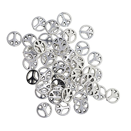 Baoblaze 50 Pieces Wholesale Tibetan Silver Hollow Flat Round Peace Symbol Spacer Beads Charms DIY Jewelry Making and Crafting - 1.2mm Holes, 13mm Diameter