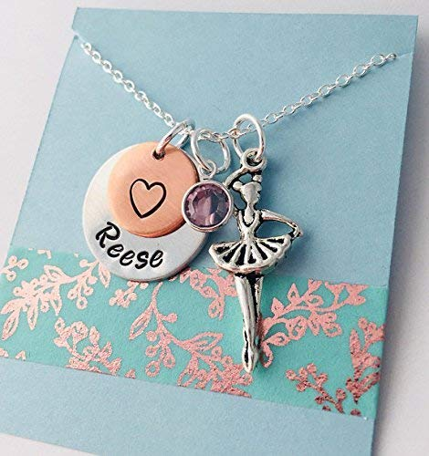 Ballerina Necklace - Dancer Gift - Dance Party Favor - Recital - Personalized Jewelry - Little girl
