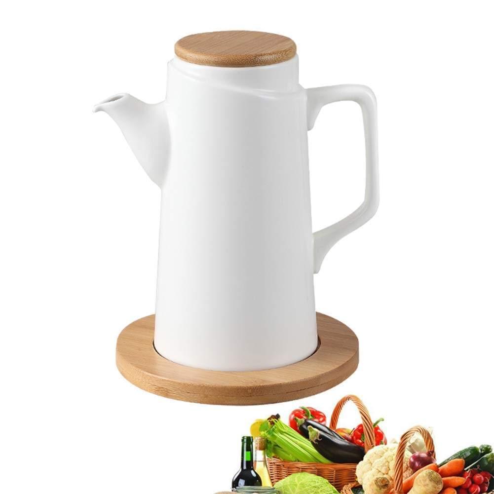 DAETNG Modern Pure White Ceramics Oil Vinegar Bottle Pot Dispenser Kitchen Olive Sauce Dispenser with Lid, Leak Pourer Dustproof, Sauce Cruet, 500 Ml 2 Pcs,Woodenboard by DAETNG