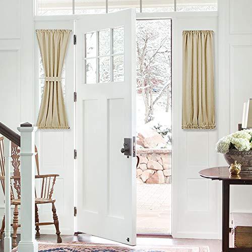 PONY DANCE Beige Sidelight Window Curtains Short Blackout French Door Panel for Sliding Glass Door Window Light Block with Bonus Tieback, 25 x 40-inch, Biscotti Beige, 1 - Curtains Side Light Door