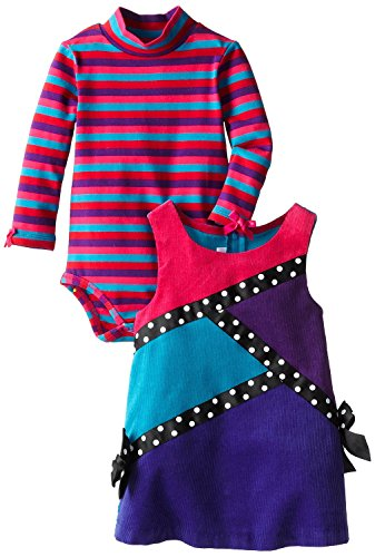 Bonnie Baby Girls' Colorblock Corduroy Jumper, Fuchsia, 24 Months ()
