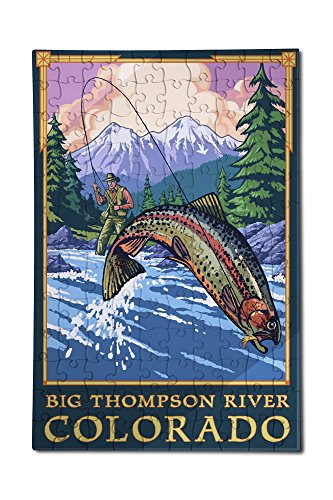 Big Thompson River, Colorado - Angler Fly Fishing Scene (12x18 Premium Acrylic Puzzle, 130 Pieces)