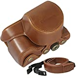 Clanmou A6300 A6000 Camera Leather Case Bag Compatible Sony Alpha Nex 6 16-50mm Lens with Camera Shoulder Strap Brown