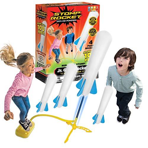 Stomp Rocket The Original Jr. Glow Rocket Launcher, 4 Foam Rockets and Toy Air Rocket Launcher – Glows in The Dark, STEM…