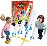 Stomp Rocket The Original Jr. Glow Rocket Launcher, 4 Foam Rockets and Toy Air Rocket Launcher - Outdoor Rocke