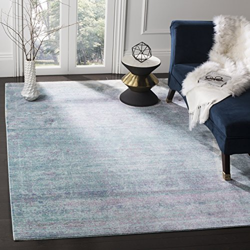 Safavieh Valencia Collection VAL203P Turquoise and Multi Distressed Watercolor Silky Polyester Area Rug (5' x 8') (Polyester Rug)