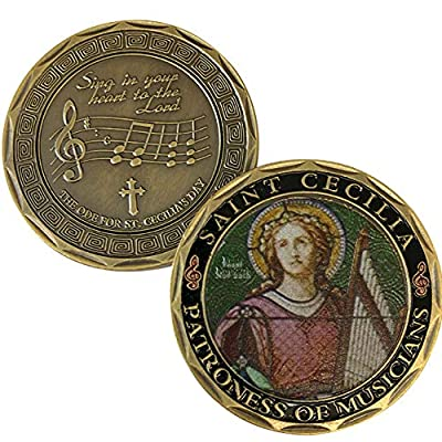 St. Cecilia - Patron Saint of Musicians Commemorative Coin - Cast and Colorized with Beautiful Iron Plating & Ancient Bronze. Stunning Original one-of-a-Kind Catholic Church Patron Saint of Musicians: Toys & Games