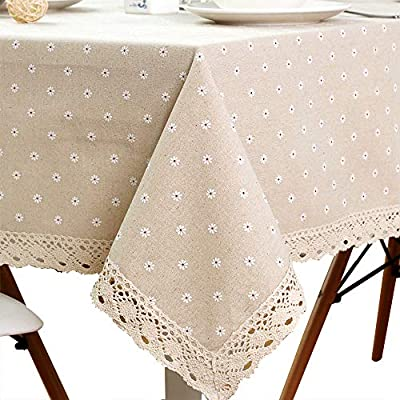 "LINENLUX SiYANG Cotton and Hemp, Machine Washable, Dinner, Summer & Picnic Tablecloth, (Beige,55.1x98.4In) - One-Piece Seamless Design, Folded over hemmed edges for an elegant looking table clothes rectangle For Dining Table:Tablecloth Length = Table Length + 20""~24""(50 ~ 60 cm), Tablecloth Width = Table Width + 20""~24""(50 ~ 60 cm), each end flaps down approximately 10"" ~ 12"" (25 ~30cm) Shape: rectangle Rural style, pure colour design.Material:cotton and hemp - tablecloths, kitchen-dining-room-table-linens, kitchen-dining-room - 51kEq3t62fL. SS400  -"