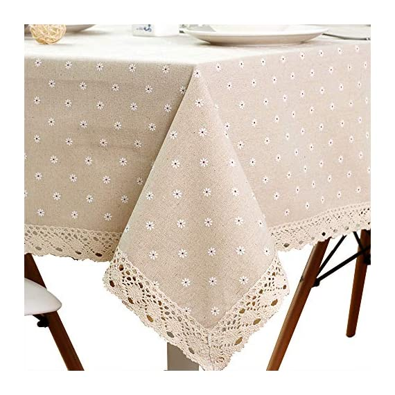 "LINENLUX Cotton Linen Tablecloth Macrame Rectangle Table Covers for Dinner Parties Holidays Beige 55 x 98 in - Material: Linen cotton + Polyester / No harsh chemicals / Durable / Colorfast Features: Striped / Plaid / Wood Print / Triangles pattern on waterproof polyester tablecloth. Size: Measures 55"" Width x 102"" Length (140 x 250 cm), size deviation is between 1 to 2 inch - tablecloths, kitchen-dining-room-table-linens, kitchen-dining-room - 51kEq3t62fL. SS570  -"
