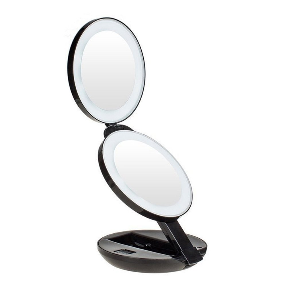 1X/10X Lighted Makeup Mirror, Trifold Travel Mirror Illuminated with 16 LED Lights, Standing Double Foldable Mirror for Eye Makeup, 10X Magnifying, Compact Vanity Mirror for Women … YEVITA
