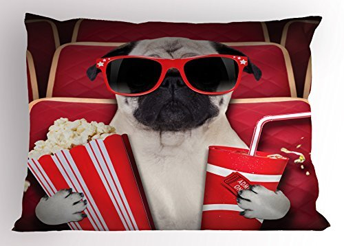 TINA-R Pug Pillow Sham, Funny Dog Watching Movie Popcorn Soft Drink and Glasses Animal Photograph Print, Decorative Standard Size Printed Pillowcase, 24 X 16 Inches, Red Cream Ruby ()