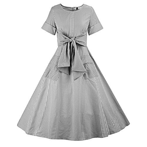 YouPue 1950er Damen Retro Bowknot Kleid A-Linie Kurzarm Schwingen Streifen Partei Ballkleid Einfarbig Schwarz 6aw7M