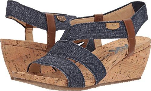 Anne Klein AK Sport Women's Cabrini Wedge Sandal, Blue White/Cognac Fabric, 10.5 M (Klein Womens Wedge Shoes)