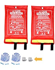 [Pack of 2] Upgraded Premium Fire Blanket - Fire Suppression Blanket Made from Fiberglass Silica Cloth for Camping, Grilling, Kitchen Safety, Car and Fireplace (with Gloves + Hooks)