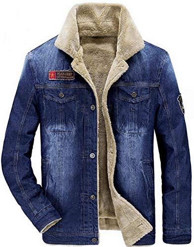 Invernale Plus Trench hellblau Da Pelliccia Velluto Uomo Parka Giacca Denim Pesante 2 Abbigliamento Classica Calda In Con CxqWvwnFAP