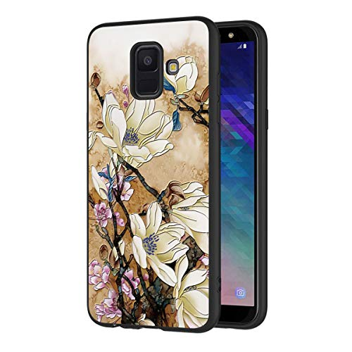Eouine Samsung Galaxy A6 2018 Case, Phone Case 3D Relief Silicone Black Embossed with Floral Flowers Pattern Design Slim Shockproof Back Cover Skin for Samsung Galaxy A6 2018 (Flowers White)