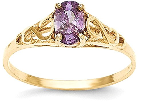 IceCarats 14k Yellow Gold Synthetic Amethyst Ring
