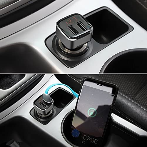 RONSHIN Dual USB Car Charger Volt Meter Car Battery Monitor with LED Voltage Amps Display for iPhone iPad Pro Samsung Silver