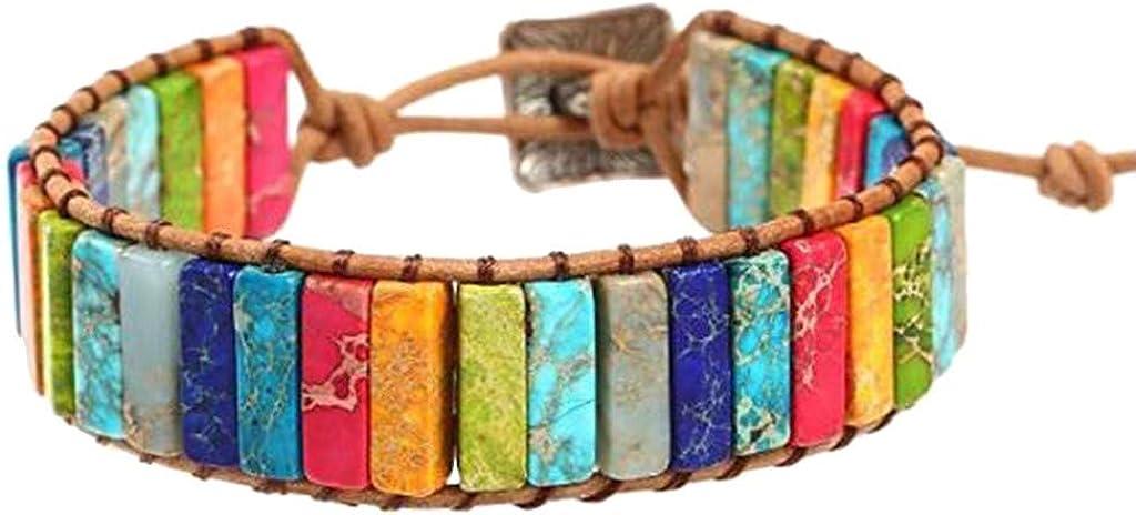 Qiiueen Pulsera De Piedra De Emperador De Color Arco Iris, Tricotado A Mano, Pulsera De Cuero De Una Capa, Estilo Vintage