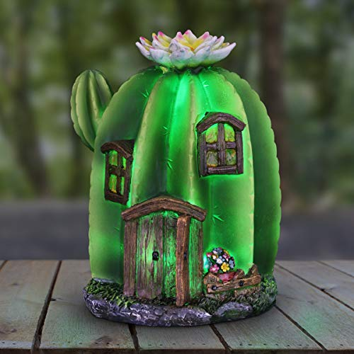 Exhart Solar-Powered Mini Cactus House Topped w/White Flowers Garden Statue - Quality Cactus Fairy House Resin Statue w/Solar LED Decor Lights - Fairy House Decor for Garden and Patio, 9 Inches