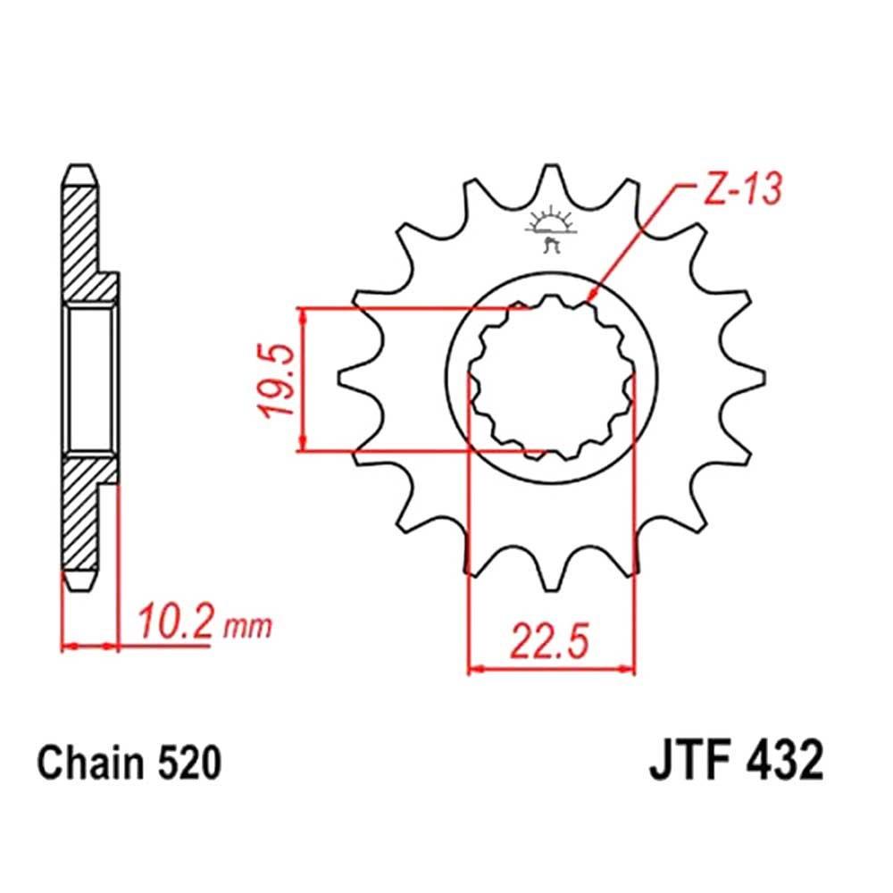 JT Ritzel Rac 13z Teilung520 Feinverzahnt InnenD. 19.5//22 Beta Alp 200 F432-13SC 8