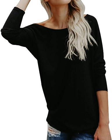 LOPILY Camiseta para Mujer Blusas sin Respaldo Estilo de Moda Color sólido Camiseta Negra Señoras Elegante Manga Larga Tops Ropa de Playa Camisas únicas: Amazon.es: Ropa y accesorios