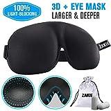 3D Sleep Mask (No Pressure On Your Eyeballs,Nose),Sleeping Eye Mask, Blindfold Eye Cover, Night Mask with Ear Plugs for Women, Men (Black)