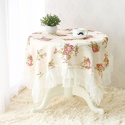 Autohome Square Polyester Tablecloths for Square Round Dining Tea Table - 59 by 59 inch Beige Floral (52 Round Glass Table Top)
