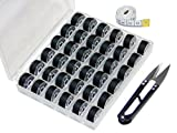 clear bobbins for brother pe770 - Ceeyali 36 Pcs Bobbins with Black Sewing Thread and Bobbin Case Organizer Come With Measure Tape and Sewing Scissor for Brother Singer Babylock Kenmore Janome etc (36 Pcs Black)