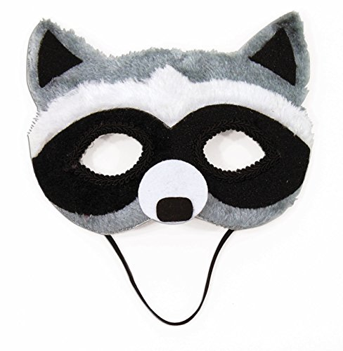 (Raccoon Animal Fancy Eye Mask Adult Child Faux Fur Half Costume Accessory, Grey / White / Black,)