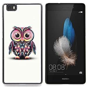 Jordan Colourful Shop - Owl Pink Eyes Colorful Disco Bird Drawing For HUAWEI P8 Lite - < Personalizado negro cubierta de la caja de pl??stico > -