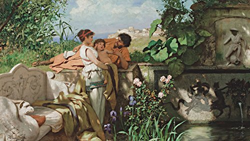 Henryk Siemiradzki - by The Fountain, Size 14x24 inch, Gallery Wrapped Canvas Art Print Wall décor