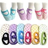 6 Pairs Toddler Girl Anti Slip Mary Jane Socks Baby Girl Gift No Skid Ballet Socks with Strap No Show Crew Socks for 12-30 Mo