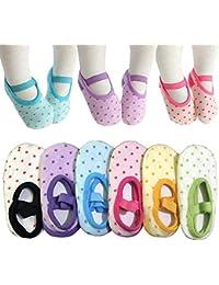 6 Pairs Toddler Girl Anti Slip Mary Jane Socks Baby Girl...