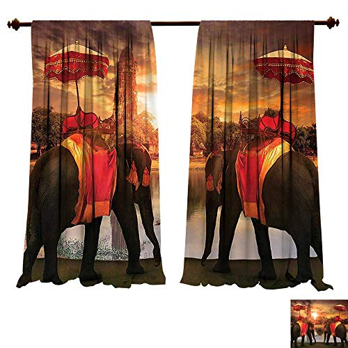 fengruiyanjing-Home Blackout Curtain Set Elephants Dressing Traditional Costumes Standing in Front of Pagoda Patience Sage Symbol Print Multi Comfort Spaces (W107 x L84 -Inch 2 -
