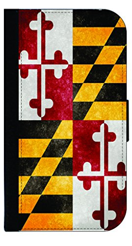 Maryland State Grunge Flag-TM Apple iPhone 5c Universal PU Leather and Suede Wallet Style Phone Case Made in the USA