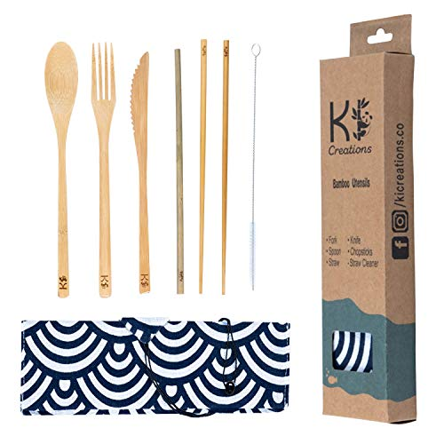 Bamboo Utensils & Travel Pouch | Premium Coated Bamboo Cutlery | 100% Eco-friendly | Spoon, Fork, Knife, Chopsticks, Straw, Straw Cleaner