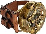 Reloj de Pulsera clásico Calvin náutico Estilo Steampunk con brújula y Correa de Piel, colección Hecha a Mano, brújula de Reloj de Sol, colección náutica