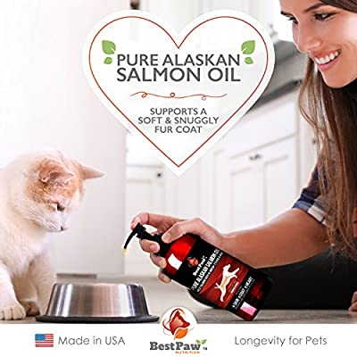 Wild Alaskan Salmon Oil for Dogs & Cats Pure Omega 3 Fish Oil Supplement Rich in for Allergies & Dry Itchy Skin & Paws Relief All Natural Healthy Joints Support Soft Coat & Anti-Shedding Aid Pets Love
